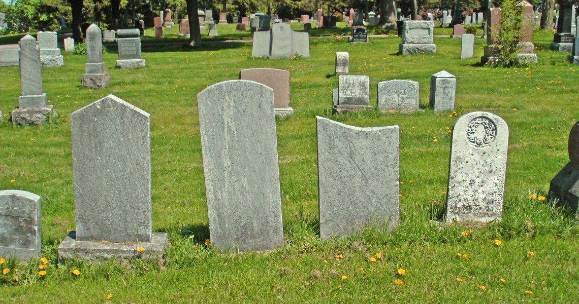 Blank Gravestones in the graveyard